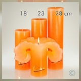 Lotuskerze EINFARBIG -  ORANGE 28cm